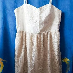 American Eagle Outfitters White Lace Bottom Dress